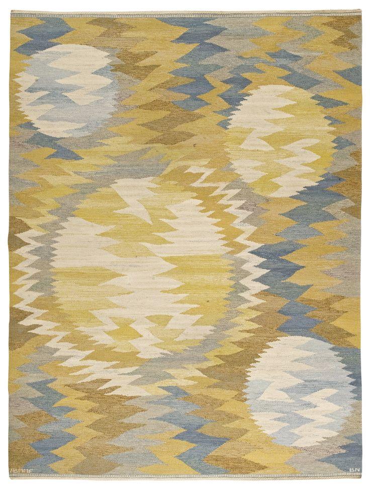 Märta Måås-Fjetterström and Barbro Nilsson; Flat Weave Wool 'Sun Spots' Carpet, 1966.