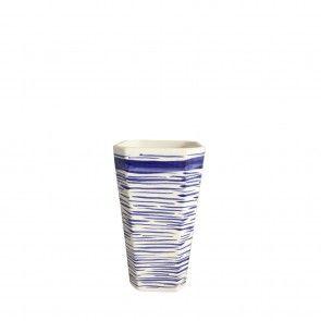 Vaso medio in ceramica a righe blu Este Ceramiche