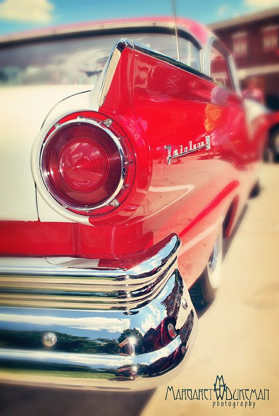 Screaming Red 1957 Ford Fairlane  Art by MargaretDukeman on Etsy
