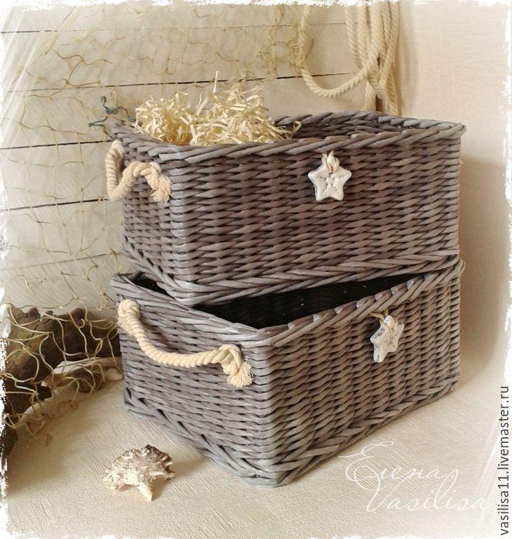 """Купить Плетеные короба для хранения """"Уютный дом"""" - плетеные короба, корзинки, в морском стиле, для хранения"""