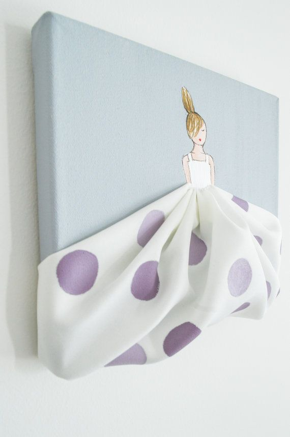 Original acrylic painting, hand-painted on stretched canvas. Unique artwork, composed of acrylic paint and fabric, ideal for a little girls room, nursery, baby shower, birthday gift, etc. ------------------------------------------------------------------------------------------------ This is the listing for one canvas only (Little Princess in lavender polka dots, grey background). See our other artwork listings to mix and match! Her hair colour is available in blond, brown or black. If no…
