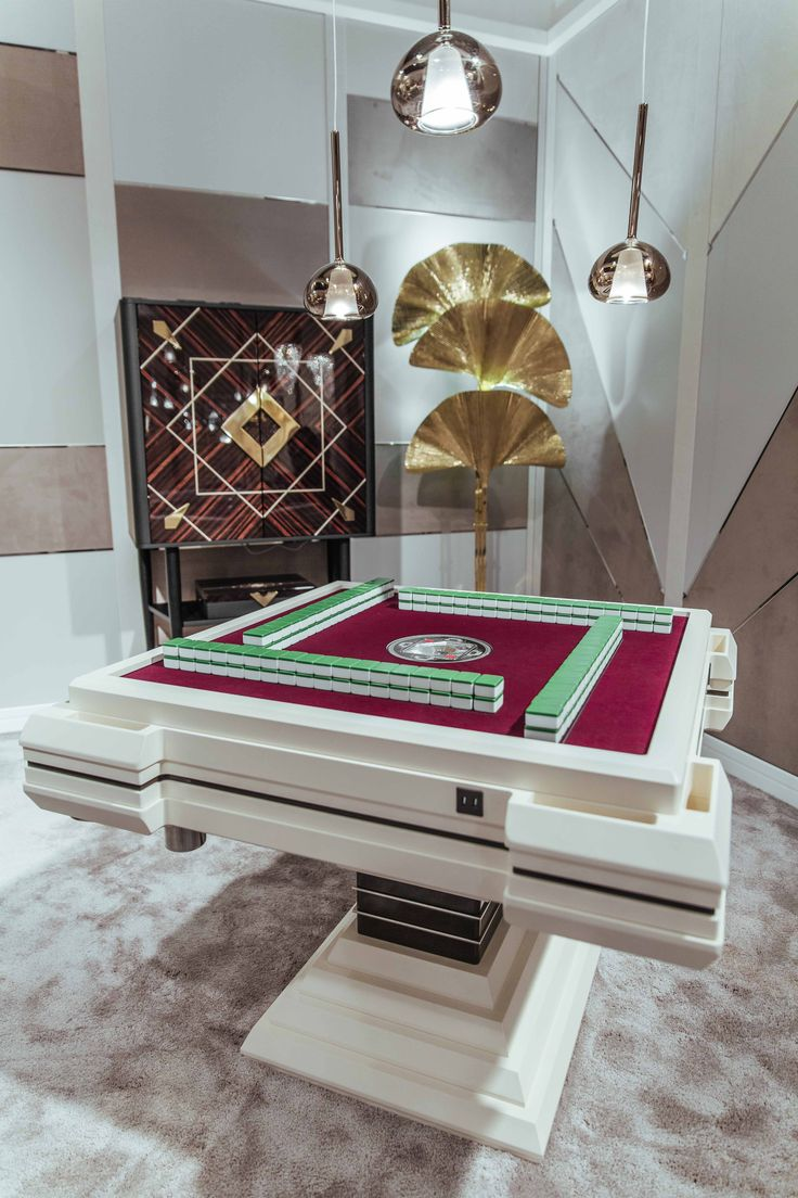 Automatic Mahjong Table for Mahjong lovers, complete of hidden mechanism for the tiles sorting, by Vismara Design Italy