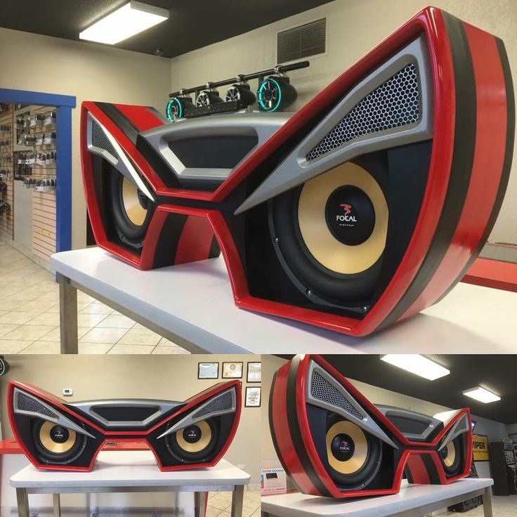car audio custom install trunk amp rack unique enclosure eyes angry fiberglass..... red black grey mesh, yellow focal subs