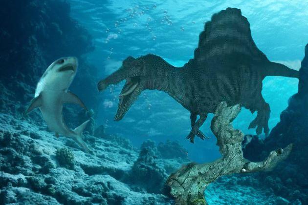 Spinosaurus vs Great White Shark | Jurassic World ...