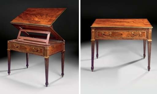 A GERMAN BRASS-INLAID AND ORMOLU-MOUNTED MAHOGANY ARCHITECT'S TABLE    BY DAVID ROENTGEN, NEUWIED, CIRCA 1780-85