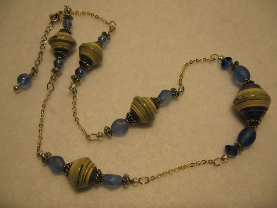 Paper bead necklace- Recycled paper bead jewelry- Blue bicones