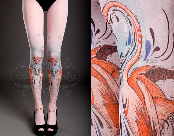 Tattoo Tights   light pink one size Flamingo Love by tattoosocks, $33.00