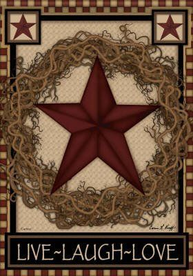 Country Primitive Barn Star Wreath Live Laugh Love Double Sided House Flag by Flag Trends. $18.95. Reads Correctly from Both Sides. Permanently Dyed. Double Sided. Measures 28 x 40. New for 2012. Star Wreath Flag designed by Carrie Knoff for Flag Trends. The flag features a Barn Star on a grapevine wreath and a check border. It reads Live, Laugh, Love. The outdoor decorative flag measures 28 x 40 and is sleeved to go on a standard house pole. FlagTrends¨ Classic out...