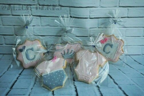 Pink and silver baby shower cookies