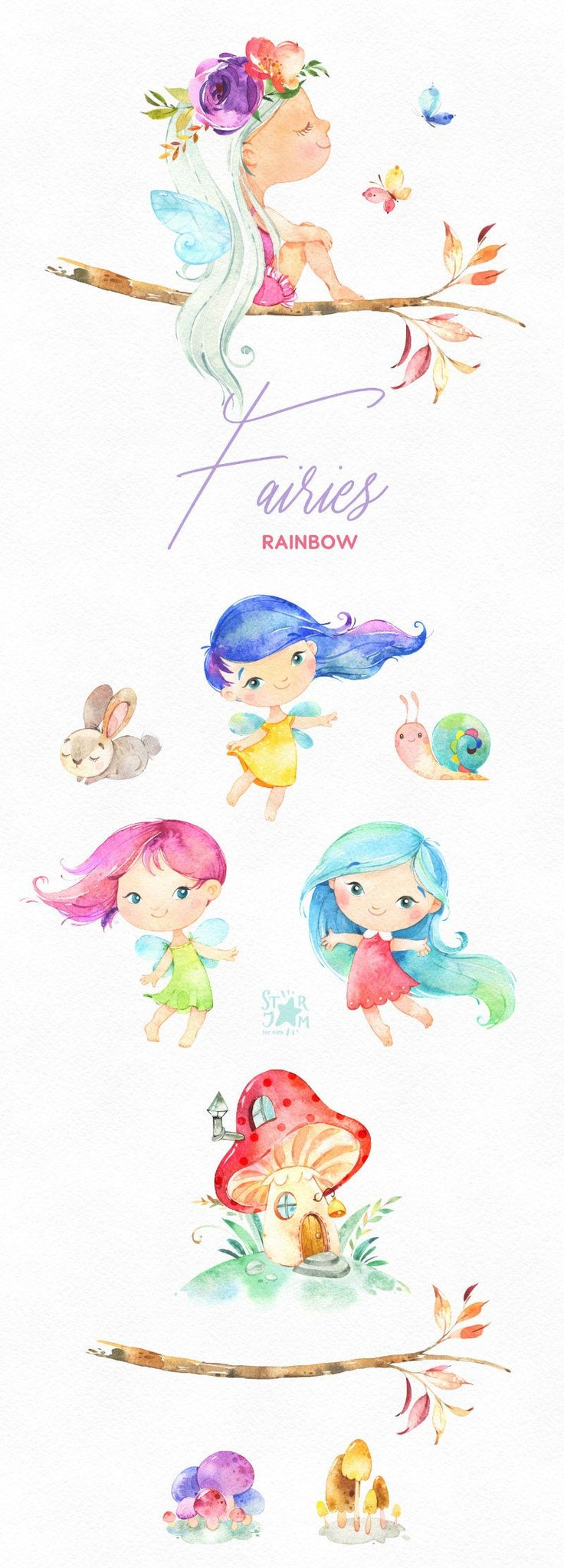 Regenbogen-Feen. Aquarell magische Cliparts, kleine Mädchen, Haare, Pilze, Wald, Märchen, Blumen, Blumen, Kindergarten, Babys, Babyparty