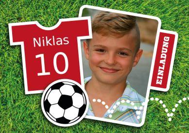 Kinder-Fußball-Einladungskarte mit Foto - für echte Fußballfans! #EinladungGeburtstag.de