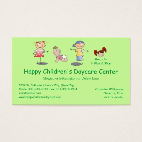 whimsical happy cartoon kids day care business card