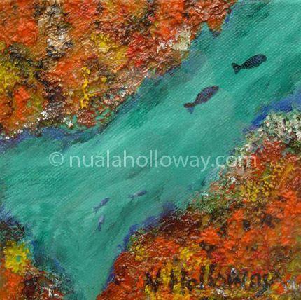 """Leaba Shíoda"" by Nuala Holloway - Oil and Sand on Canvas #Coral #Fish #IrishArtist"