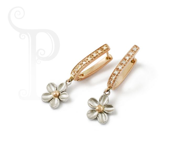 Handmade 9ct Rose & White Gold Daisy Drop Earrings Set With Round Brilliant Cut Diamonds
