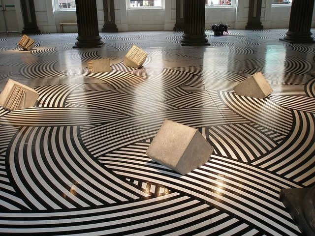 These floor graphics definitely makes a statement but watch that you don't trip on the concrete slabs!