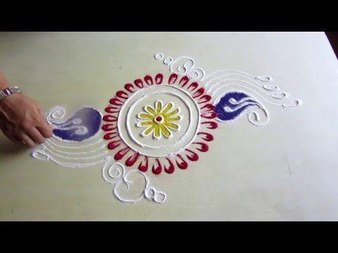 Easy rangoli design around the plate - 2   Innovative rangoli designs by Poonam Borkar - YouTube
