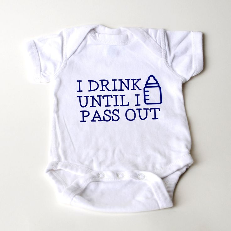 I drink until I pass out with Baby Bottle. Funny 1 piece outfit for Baby Boy. Rabbit Skins Creeper. 4.5 oz., 100% combed ringspun cotton. Reinforced three-snap closure. 1 piece bodysuits are available