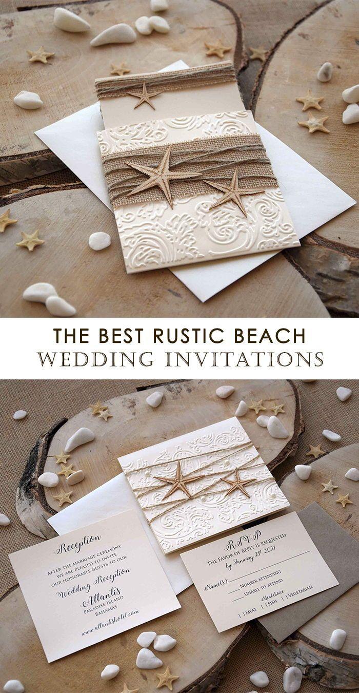Destination Wedding Invitatons In 2020 Rustic Beach Wedding Invitations Beach Wedding Invitations Burlap Wedding Invitations