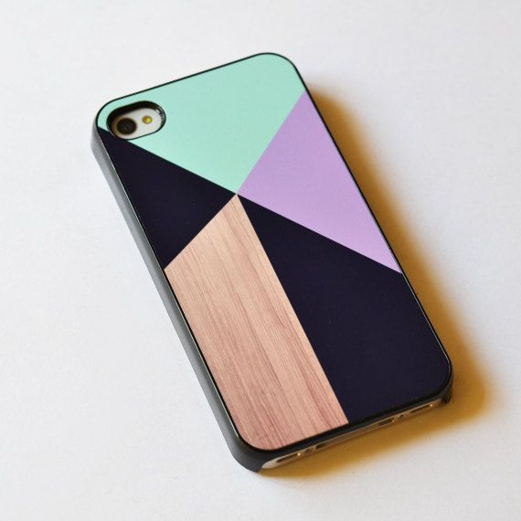 Geometric on Wood iPhone 4s Case , iphone 4 cover , iphone 4s case , Hard Plastic Case. $16.00, via Etsy.