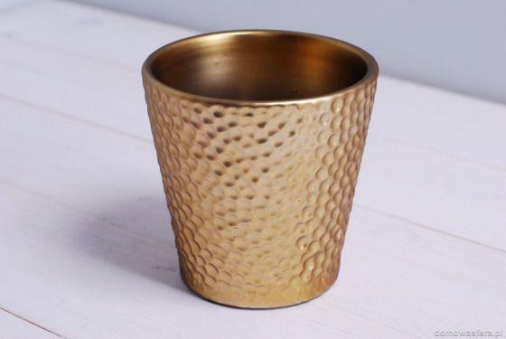 Złota nowoczesna doniczka - mała