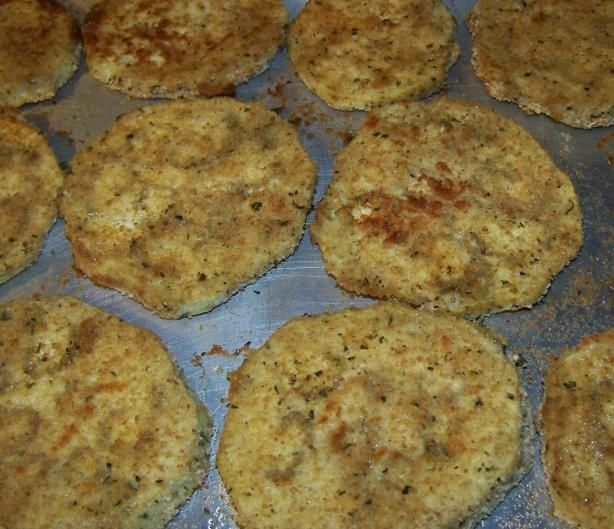 Oven Fried Eggplant from Food.com: This is a healthier way to make fried eggplant. I think it tastes as good as the old deep-fried way. Use these to make Italian Eggplant or any other recipes that calls for it. Makes great Eggplant Grinders or just to pick up and eat with your fingers with a little salt.