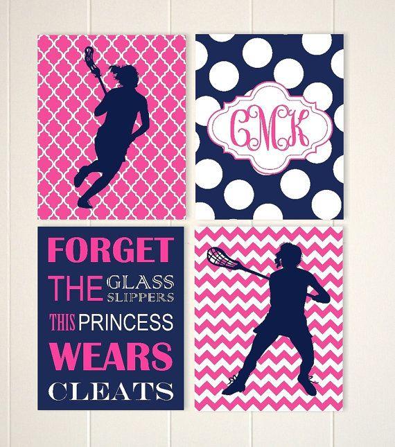 Monogram girls lacrosse wall art lacrosse room decor girls