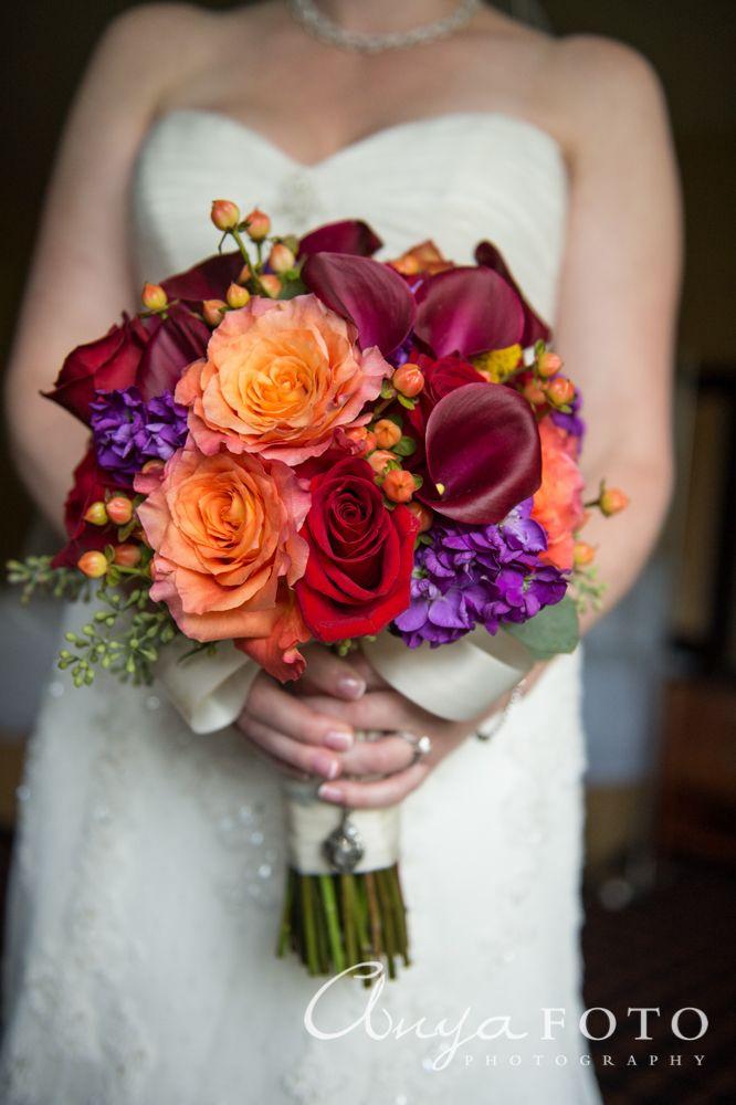 anyafoto.com, wedding bouquet, bridal bouquet, red bouquet, orange bouquet, purple bouquet, eclectic bouquet