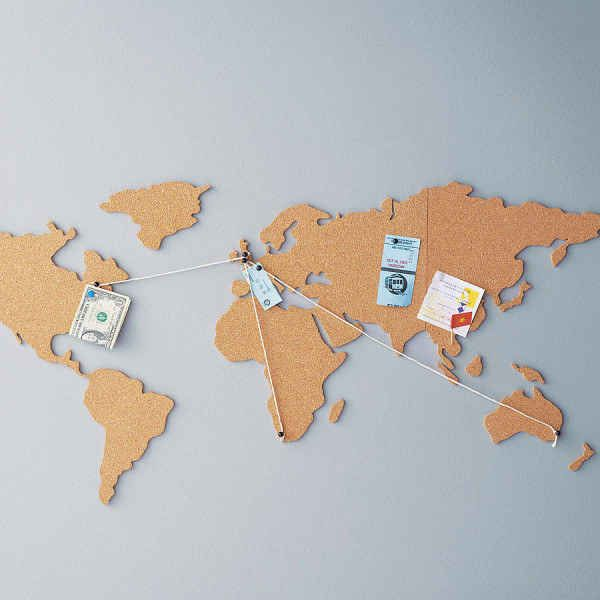 This world map cork board: EVERYTHING! Love the passport cover.