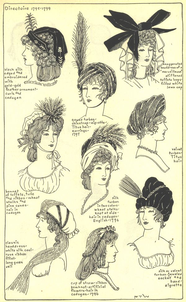 Directoire 1795-1799. France    The modes in hats and headdress