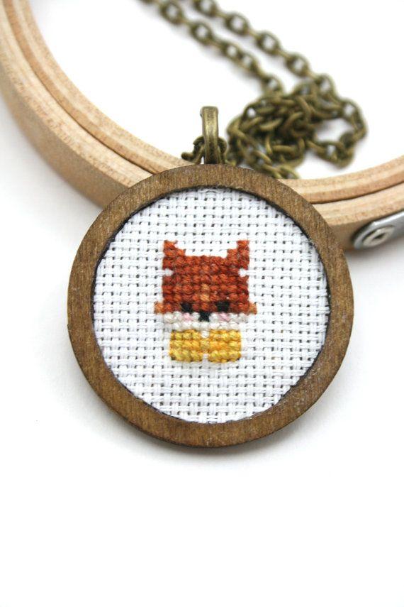 Tiny fox cross stitch necklace by otterlydesign on Etsy