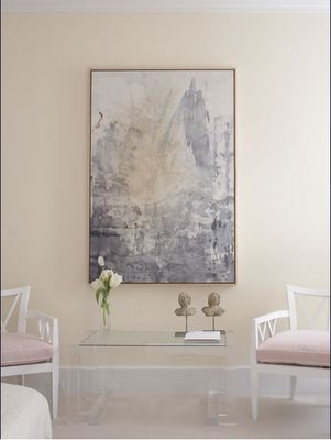Suzie: Soft pink gray entrance foyer  yellow ivory cream paint wall colors. Gray abstract art, ...