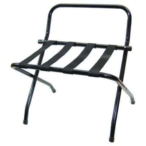 Commercial grade black powder coated foldable luggage rack with strong heavy duty strapping. Our racks have been constructed from high quality tubular steel for added strength, however remain light and are easy to store.  Perfect for any size accommodation and helps prevent guests scratching your good tables and benches.  Luggage racks will go a long way to assist with your AAA grading.   All racks come with a reassuring 3yr manufacturers warranty.  Dimensions: 620mm x 715mm x 620mm