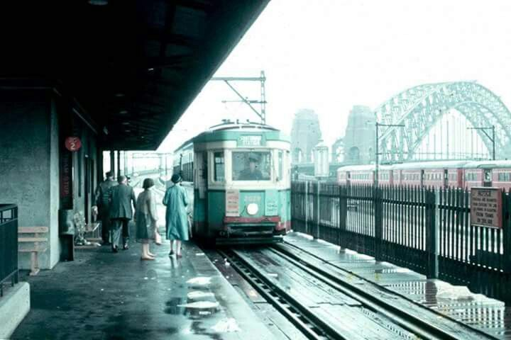 Tram at Milsons Point stop, on it's way into Sydney city in the ca.1950's. v@e