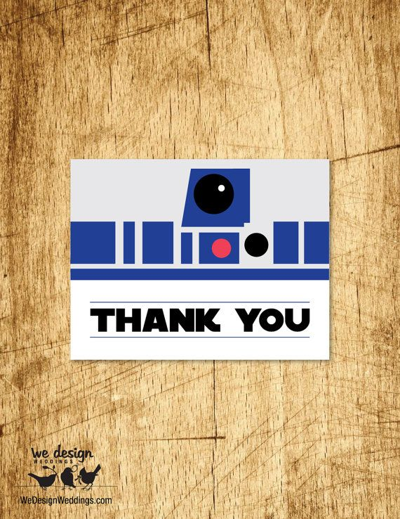 """Star Wars Inspired Thank You Card. Printable DIY 4.25x5.5"""", fits standard A2 envelope"""