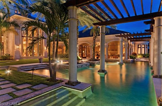 Fun Resort Style Pool With Trellises And Columns Old