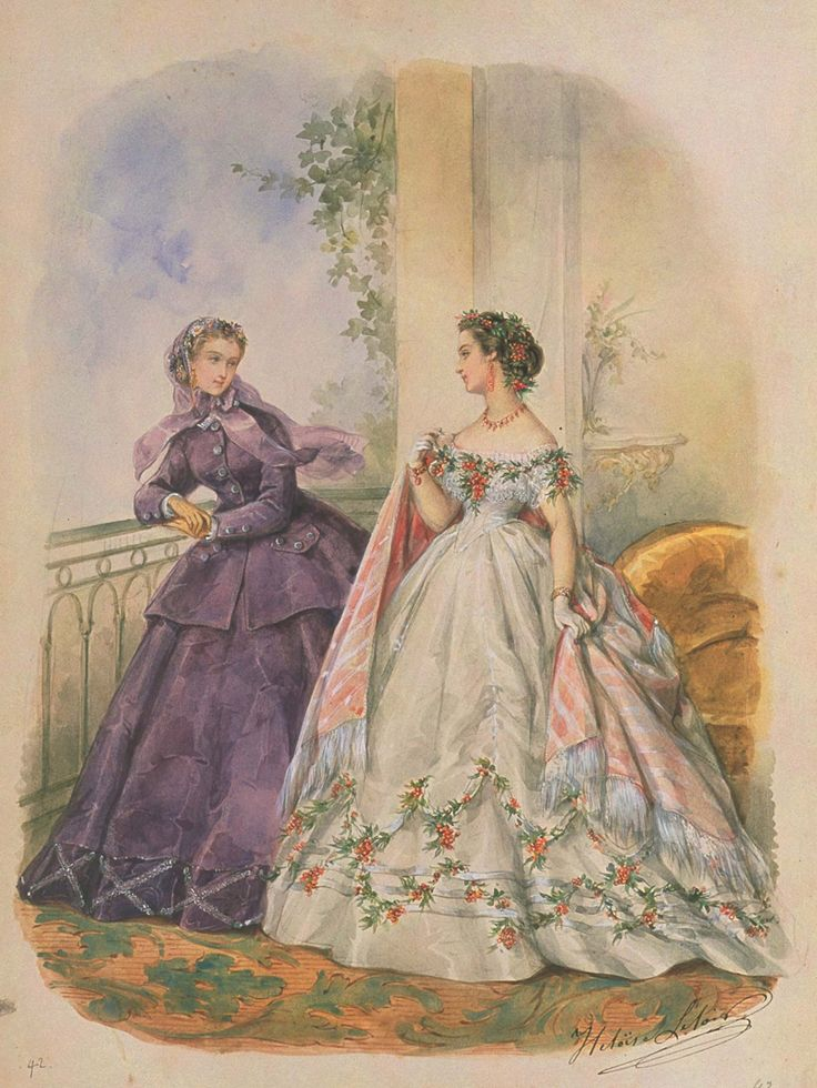 Example of the trending fashions when my novella, The Substitute Bride, takes place in 1865. #VictorianEra La Mode Illustrée, 1865.