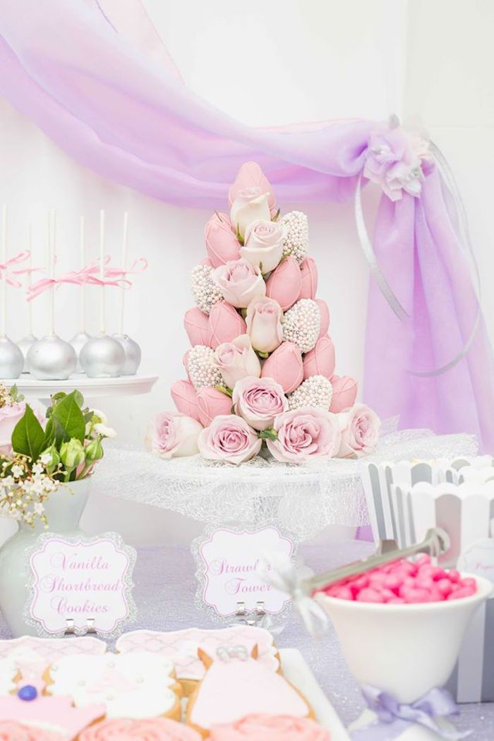 Dipped strawberry and roses tower from an Elegant Purple Princess Birthday Party at Kara's Party Ideas.