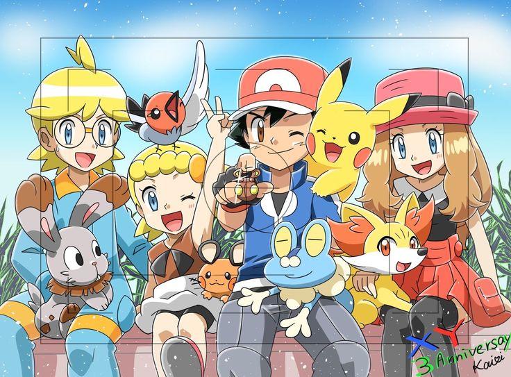 Pokémon XYZ kalos family. ASH, Serena, Clemont, and Bonnie