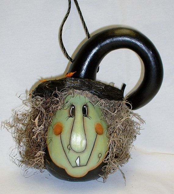Witch Gourd  Hand Painted by FromGramsHouse on Etsy, $25.00