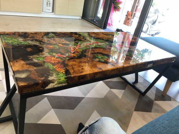 Epoxy Resin Transparent Coffee Table Handcrafted Custom 3d Etsy Epoxy Wood Table Wood Resin Table Coffee Table