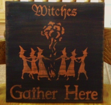 Primitive Witch Sign Witches gather Here Wiccan Witchcraft Pagan Halloween props signs DecorWiccan Witchcraft, Halloween Decor, Witches Signs, Pagan Decor, Witchcraft Pagan, Primitives Witches, Halloween Prop, Signs Witches, Witches Gathering