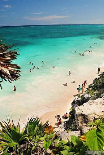 The beach on the ruins of Tulum in Riviera Maya, Mexico. Next time I go, I will go swimming here for sure! photo by BeersandBeans.com >> I need to be snorkeling here right now!
