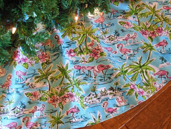 Flamingo Christmas Tree Skirt Tropical Tree by KaysGeneralStore