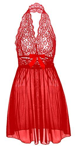 COSWE Moonight Sexy Plus Size Lace Top Babydoll Lingerie for Women (4XL, Red)