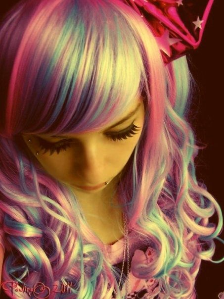 future girl, colorful, pretty pastel hair, alternative girl, futuristic style, colorful hair