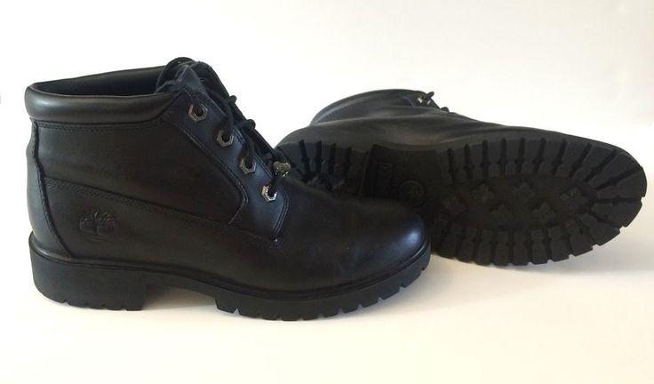 TIMBERLAND 23398 TIMBERLAND WOMEN'S NELLIE BLACK LEATHER SZ 8 WATERPROOF BOOTS #Timberland #HIKING