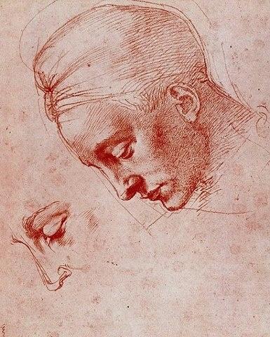"""Michel-Ange - Renaissance - Drawing - """"Tête de Léda"""" (étude)."""
