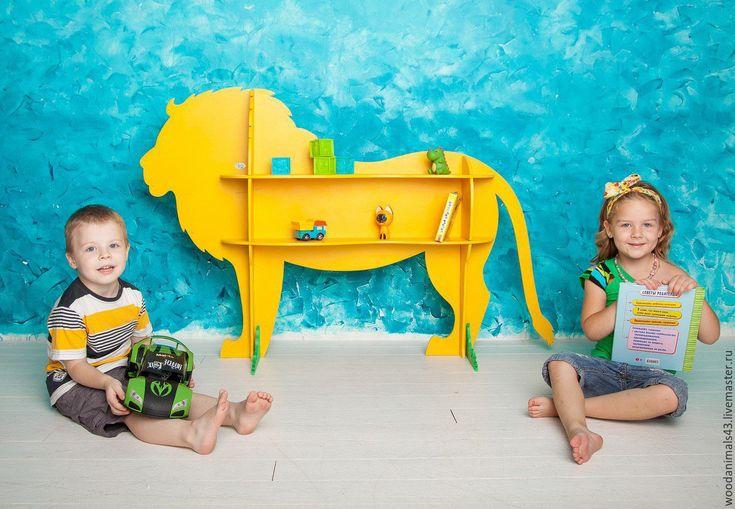 "Cute lion shelf for nursery   Купить 3-D полка ""Желтый лев"" - желтый, лев, детская комната"