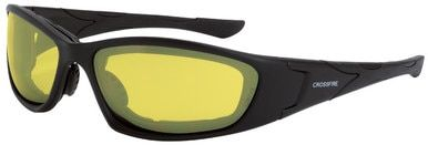 Crossfire MP7 Foam Lined Safety Glasses with Matte Black Frame and Yellow Lens