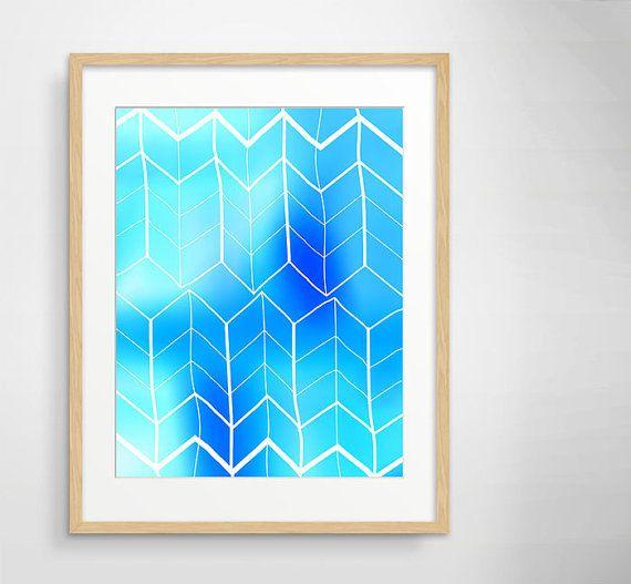 "Abstract print 11""x14"" - Aqua blue - Tribal - Wall decor - Charlie chevron cyan on Etsy, $29.00"